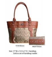 Brown G-Style Tote Handbag with Wallet - K1545-KW297 Set