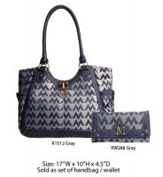 Gray M-Style Tote Handbag with Wallet - K1512-KW288 Set