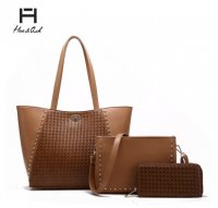 Brown 3 PCS Set Weaving Combo Fashion Handbag Set - HNA2229