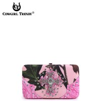 Fuchsi Cowgirl Trendy Cross N Leaves Western Wallet - FML7 4326C