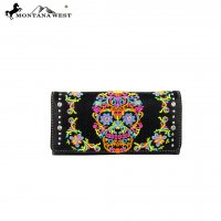Black 'Montana West' Sugar Skull Tri-Fold Wallet - MW326-W002