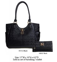 Black M-Style Tote Handbag with Wallet - K1512-KW327 Set