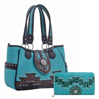 Turquoise 'Real Tree' Aztec Handbag with Wallet - MJ6805-MJ7005N