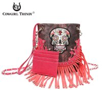 Fuchsia Sugar Skull Fringe Messenger Bag - SKU7 100F