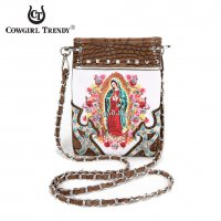 Brown 'Lady Guadalupe' Biblical Messenger Bags - GUD 5397