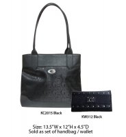 Black G-Style Tote Handbag with Wallet - KC2015-KW312 Set