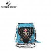 Turquoise 'Cowgirl Trendy' Sugar Skull Messenger Bag - SKW2 5379