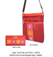 Red G-Style Messenger Bag with Wallet - KE1344-KW215 Set