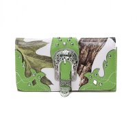 Lime Cowgirl Trendy Buckle N Leaves Wallet - WML2 030WB
