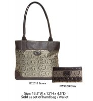 Brown G-Style Tote Handbag with Wallet - KC2015-KW312 Set