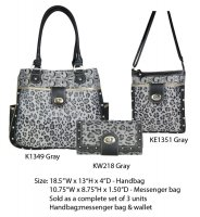 Gray G-Style Shoulder Bag Portfolio - K1349-KE1351-KW218