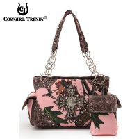 Brown Cowgirl Trendy Cross N Leaves Western Handbag PML7 8469C