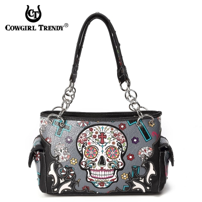 http://www.purse-obsession.com/wholesale-handbags/western-purses/grey-western-calavera-sugar-skull-handbag-sku4-8469