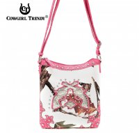 Fuchsia Cowgirl Trendy Buckle Western Messenger Bag - WML3 4699