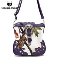 Purple Leaves & Tree Messenger Bag - WML2 200B