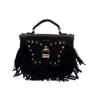 Black Fashion Fringe Satchel Handbag - LS0293