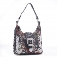 Black Western Mossy Oak Camo Hobo Handbag - MT1-40019P