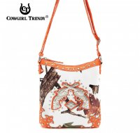 Orange Cowgirl Trendy Buckle Western Messenger Bag - WML3 4699