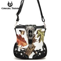 Black Leaves & Tree Messenger Bag - WML2 200B