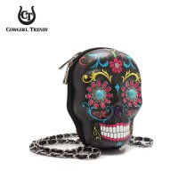 Black Hardshell Sugar Skull Messenger Bag - SKSS 5405