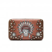 Brown 'Sugar Skull Headdress' Hard Case Wallet - KEL 4326