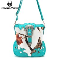 Turquoise Leaves & Tree Messenger Bag - WML2 200B