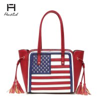 Red American Flag Tote Handbag - HNA2112