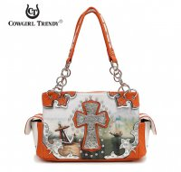 Coral 'Sea Print' W/Cross Western Handbag - OLD 8469