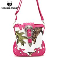 Fuchsia Leaves & Tree Messenger Bag - WML2 200B