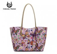 Purple Butterfly Pattern Tote Handbag - MULB 5441A