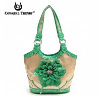 Green 3D Flower Center Accented Handbag - TUF 361F