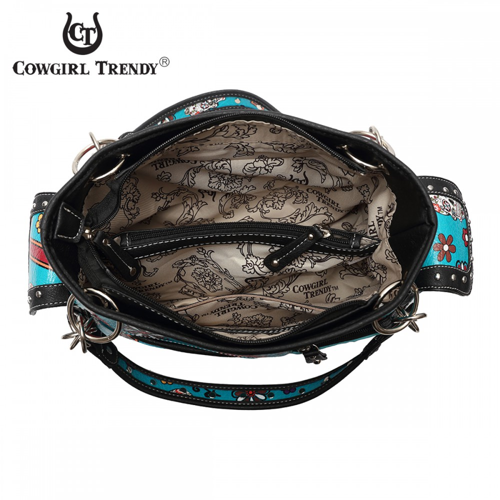 Teal Western 'Calavera' Sugar Skull Handbag - SKU4 8469 - Click Image to Close