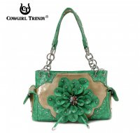 Green 3D Flower Center Accented Handbag - TUF 8469F