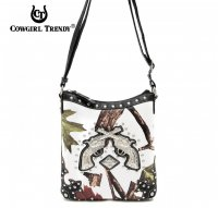 Black Cowgirl Trendy Buckle Western Messenger Bag - WML3 4699