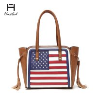 Brown American Flag Tote Handbag - HNA2112