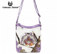 Purple Cowgirl Trendy Buckle Western Messenger Bag - WML3 4699