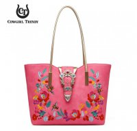 Fuchsia Jewelry Buckle & Embroidery Tote Handbag - EBGG 5441A