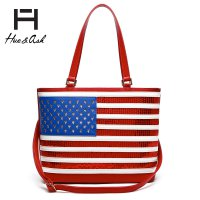 Red American Flag Tote Handbag - HNA2190