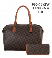 Brown 2 In 1 Fashion Signature Handbag With Wallet - 007-7282