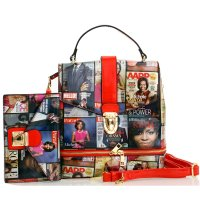 Red 2 in 1 Michelle Obama Magazine Handbag Set - MB5001HS