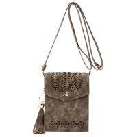 Taupe Cell Phone Laser Cut Modern Crossbody Purse - FCUS 5754