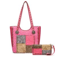 Fuch Ostrich Western Tote W/Tooled Patchwork Set - PW 5739-300