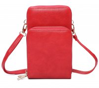 RED DOUBLE ZIPPER MULTI POCKET CROSSBODY WALLET