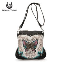 Black Western Embroidered Butterfly Messenger Bag - NOW2 200