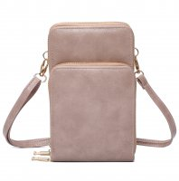 STONE DOUBLE ZIPPER MULTI POCKET CROSSBODY WALLET