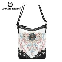 Black Cowgirl Trendy Cross N Leaves Messenger Bag - PAY 4699