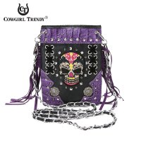 Purple Biker Skull Mini Western Messenger Bag - SKW2 5379