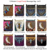 12 Messenger Bags 'Cowgirl Trendy' Collection - Lot D