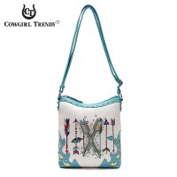 Turq Western Cowgirl Arrows Accented Messenger Bag - ARR2 4699