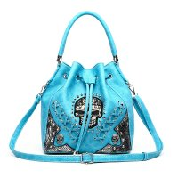 Turquoise 'Cowgirl Trendy' Sugar Skull Bucket Bag - SKW3 5380